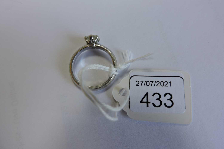 A platinum single stone diamond ring, - Image 5 of 5