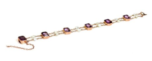 A rose gold amethyst and pearl bracelet, c.1910,