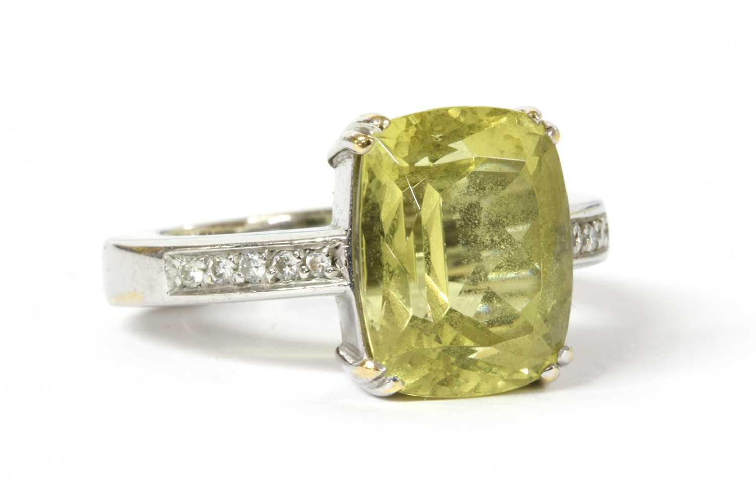 A gold heliodor and diamond ring, - Image 2 of 3