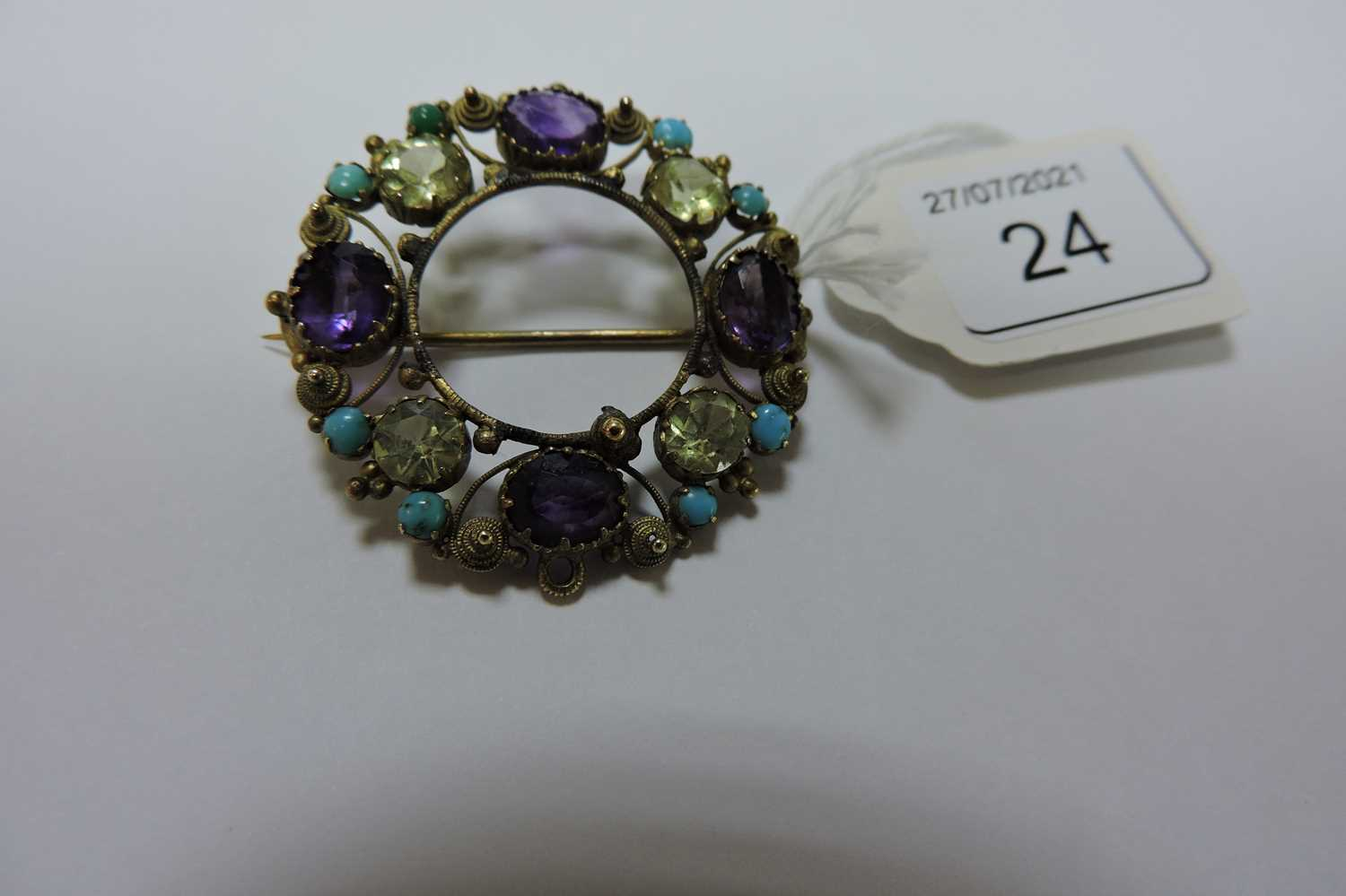 A Regency gold amethyst, chrysolite and turquoise cannetille brooch/pendant, - Image 2 of 3