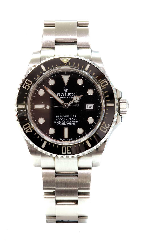 A gentlemen's stainless steel Rolex 'Oyster Perpetual Sea Dweller' automatic bracelet watch, c.2015,