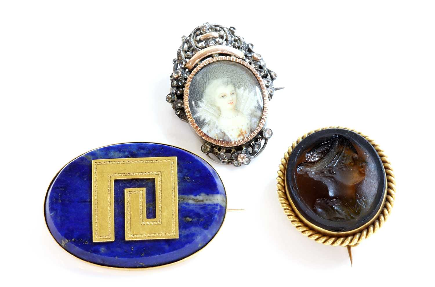 A late Victorian gold mounted Tassie intaglio brooch, by Benzie of Cowes, - Image 2 of 2