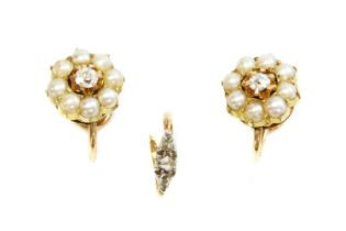 A pair of diamond and split pearl cluster earrings, c.1900,