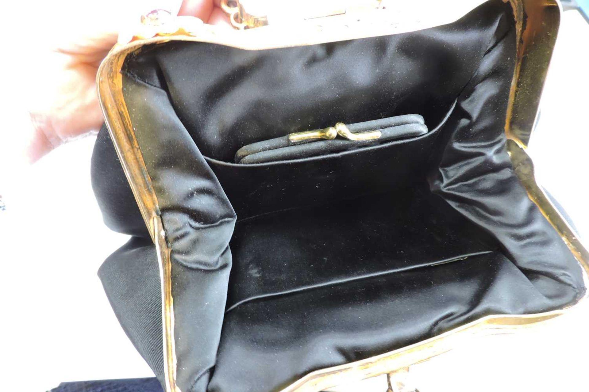 A black grossgrain gem set evening clutch bag, c.1930 - Image 8 of 9