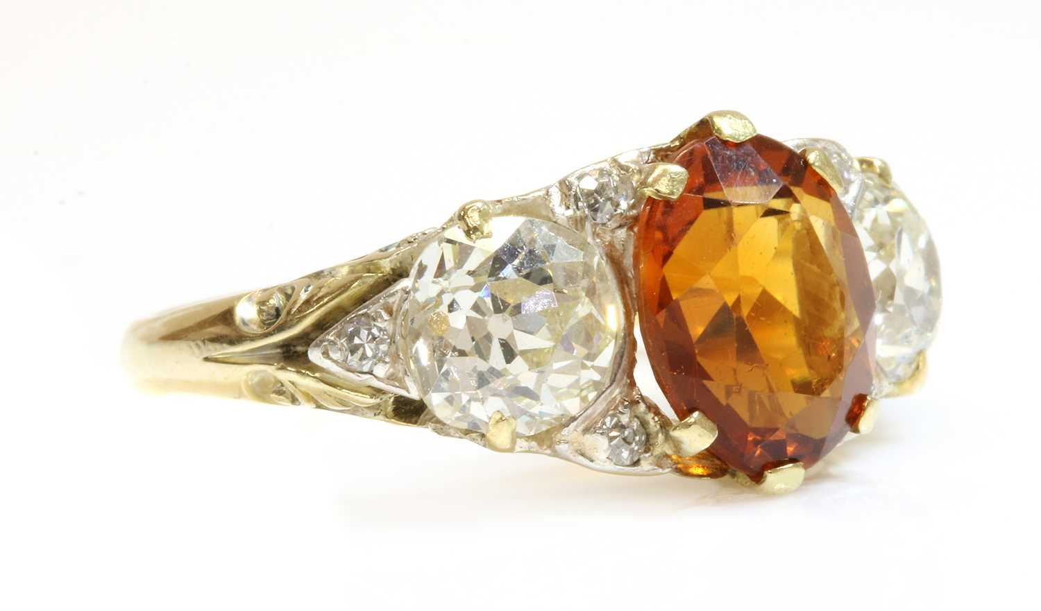 A late Victorian citrine and diamond boat shaped carved head ring, - Image 2 of 4