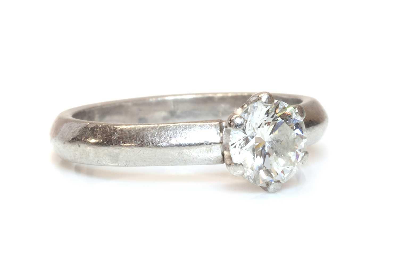 A platinum single stone diamond ring,