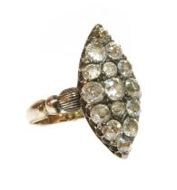A late Victorian marquise shaped diamond set cluster ring,