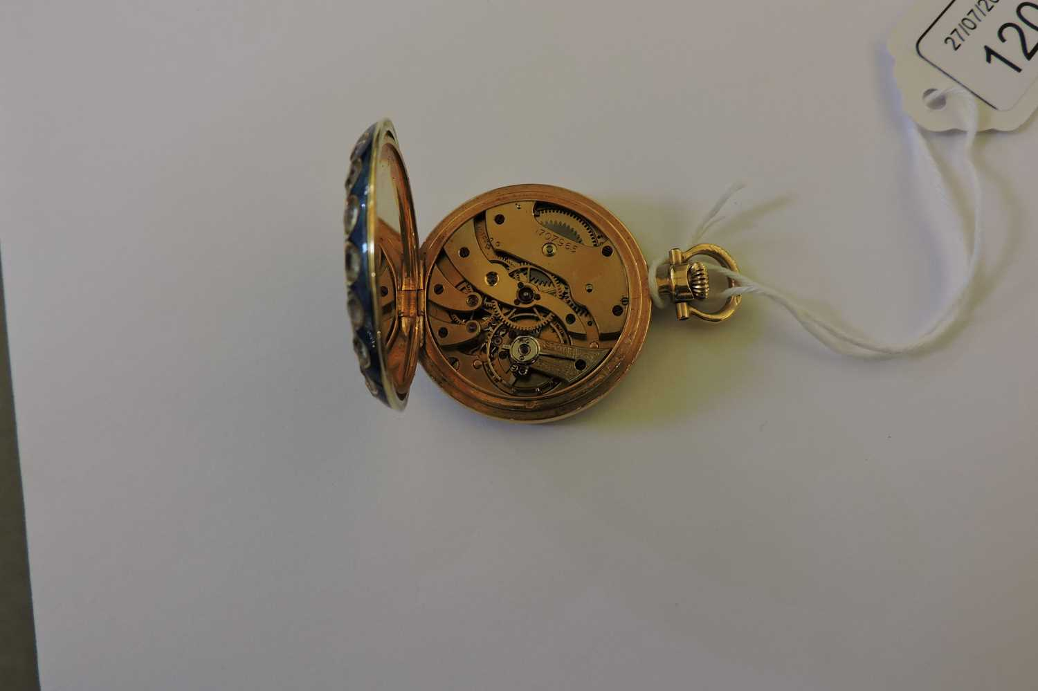 A cased 18ct gold gem set and guilloché enamel fob watch, - Image 5 of 6
