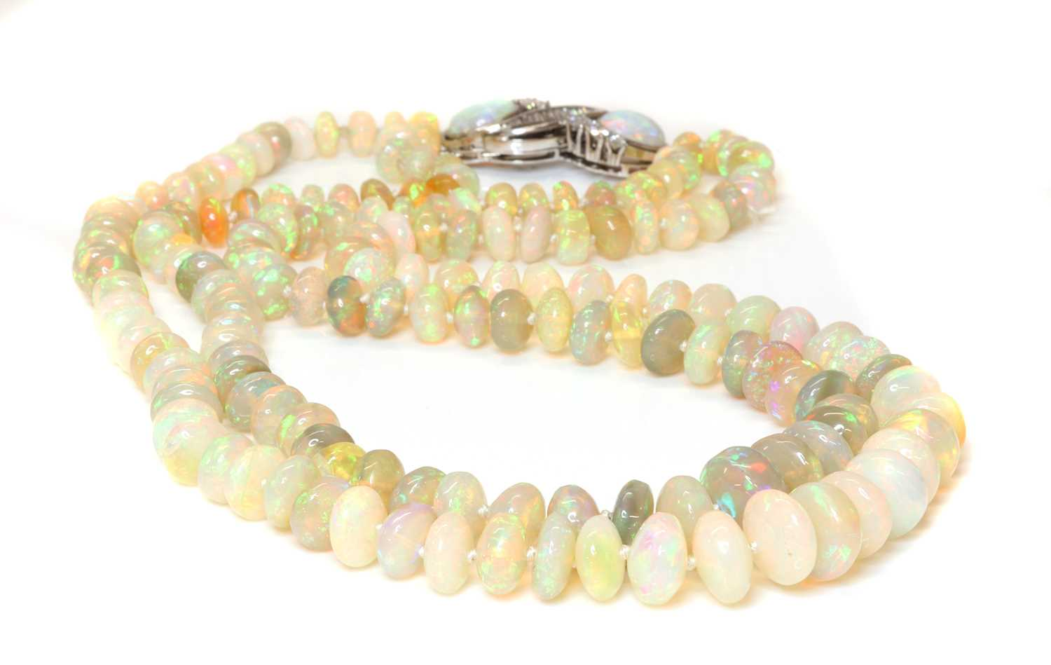 A two row graduated opal bead necklace, - Image 2 of 5