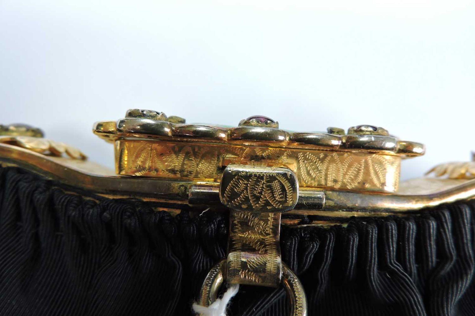 A black grossgrain gem set evening clutch bag, c.1930 - Image 5 of 9