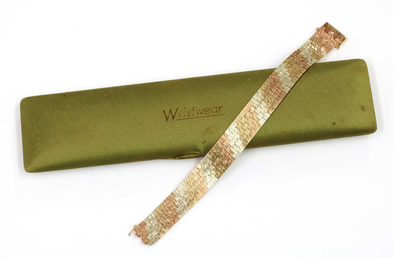 A 9ct three colour gold five row brick link bracelet, by Wristwear, c.1970, - Image 2 of 2