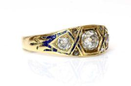 A Victorian three stone graduated diamond and enamel ring, c.1860,