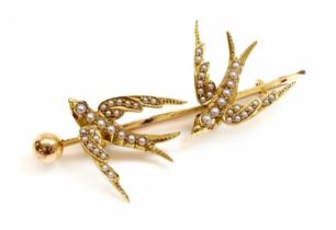 A gold and split pearl swallow brooch, c.1900,