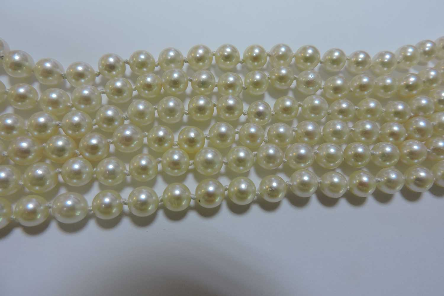 A three row cultured pearl necklace, - Image 6 of 7