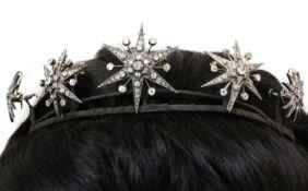 A Victorian diamond set, five star tiara, c.1870-1880,