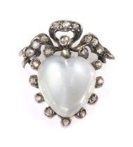 A Victorian moonstone and diamond heart brooch, c.1880,