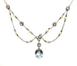 An Edwardian aquamarine, diamond and pearl swag necklace, c.1910,