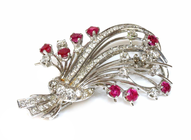 A ruby and diamond spray brooch, c.1950,