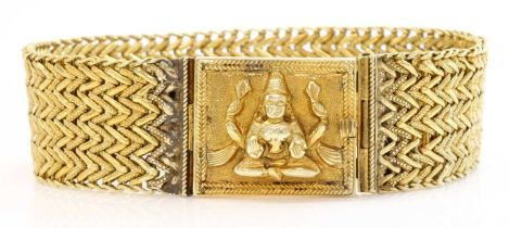 An Anglo-Indian gold chevron link bracelet,