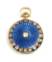 A cased 18ct gold gem set and guilloché enamel fob watch,