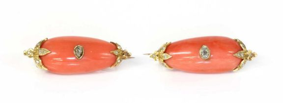 A pair of cased Victorian coral and diamond brooches,