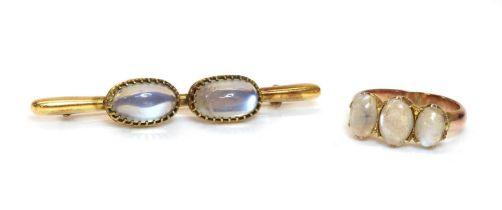 A two stone moonstone bar brooch,