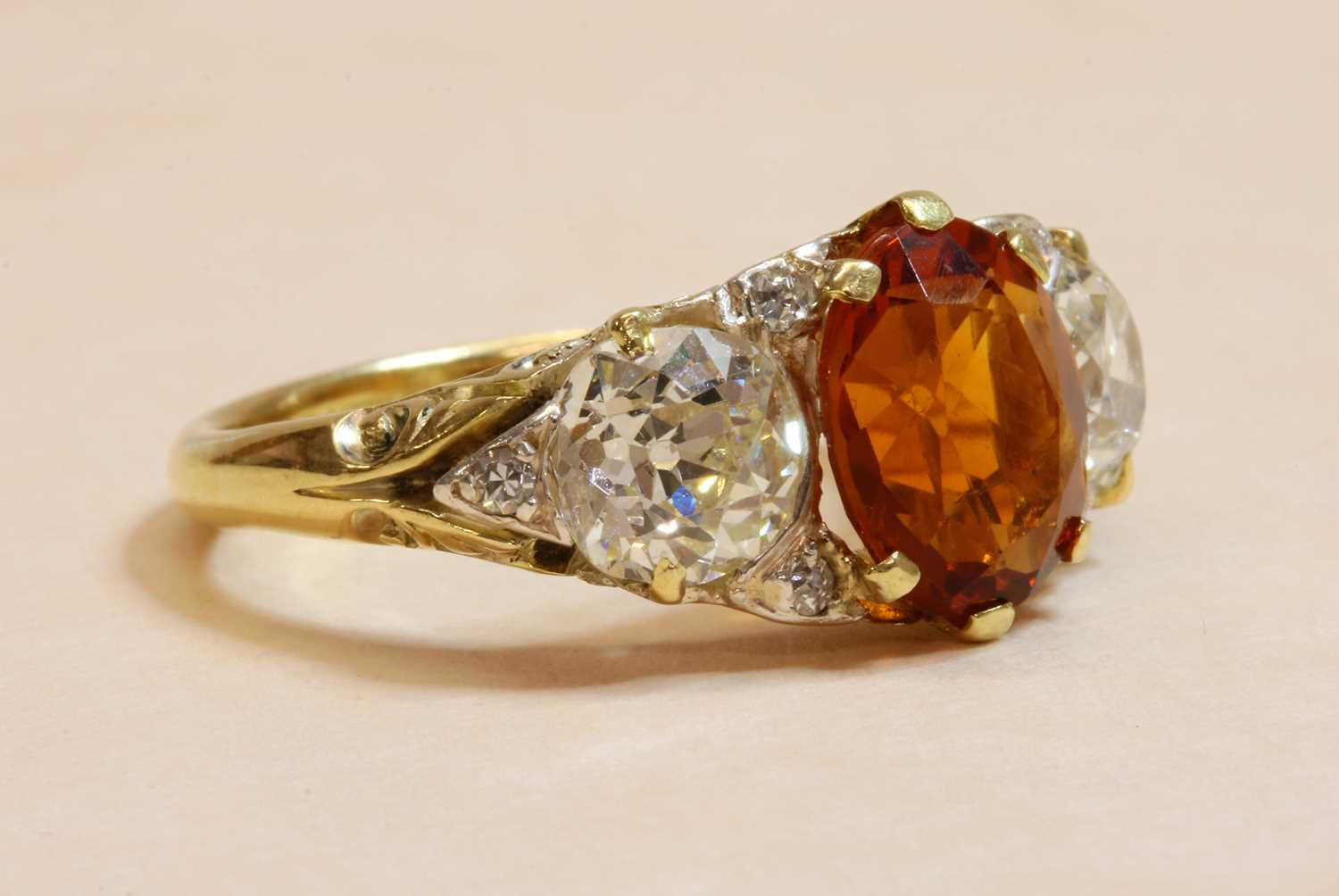 A late Victorian citrine and diamond boat shaped carved head ring, - Image 4 of 4