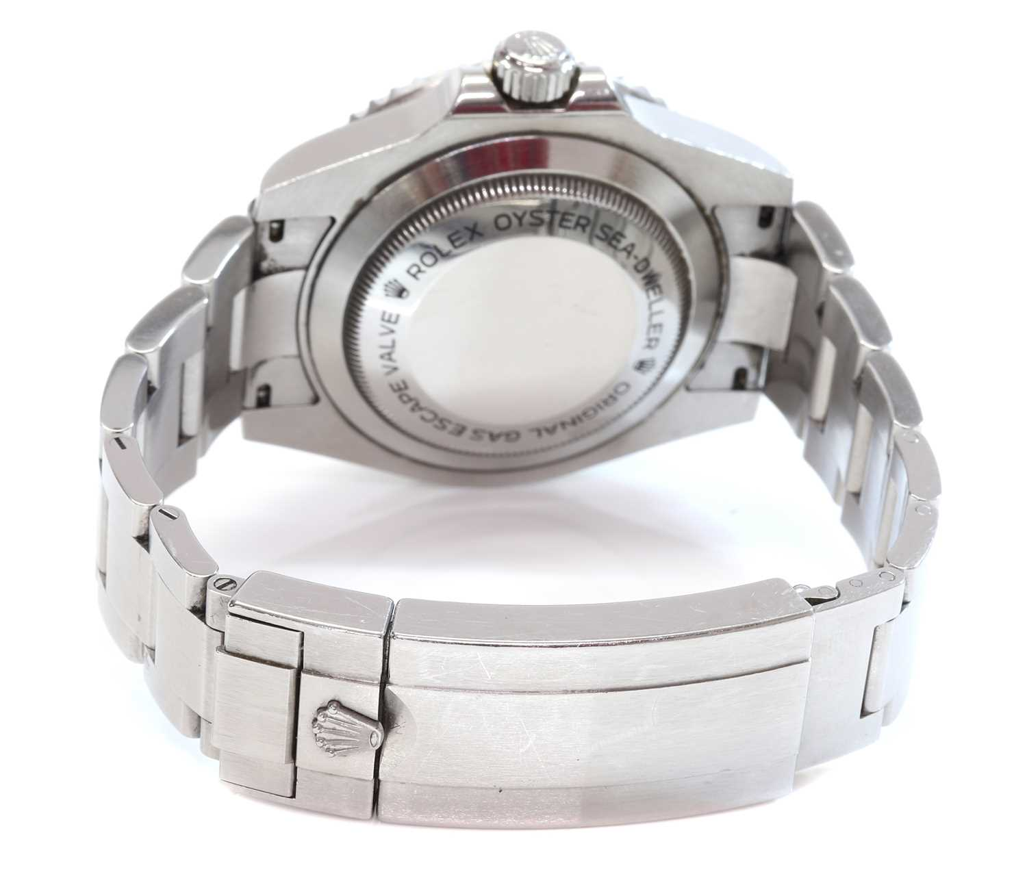 A gentlemen's stainless steel Rolex 'Oyster Perpetual Sea Dweller' automatic bracelet watch, c.2015, - Image 9 of 14