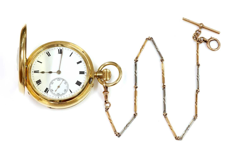 An 18ct gold side wide half hunter pocket watch,