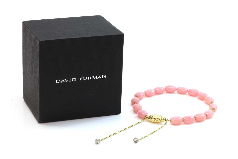 A gold, pink opal and diamond 'Spirituality' bracelet, by David Yurman, c.2007, - Image 2 of 5