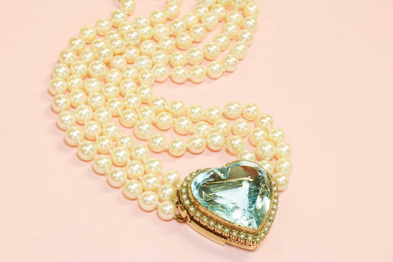 A three row cultured pearl necklace, - Image 2 of 7