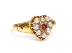 A 15ct gold Victorian ruby and split pearl heart shaped cluster ring,