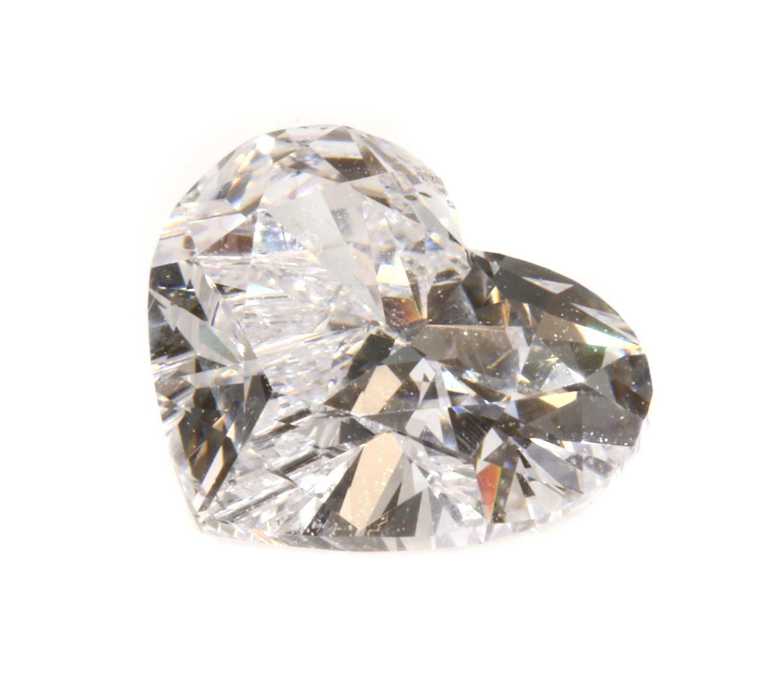 An unmounted heart shaped brilliant cut diamond,