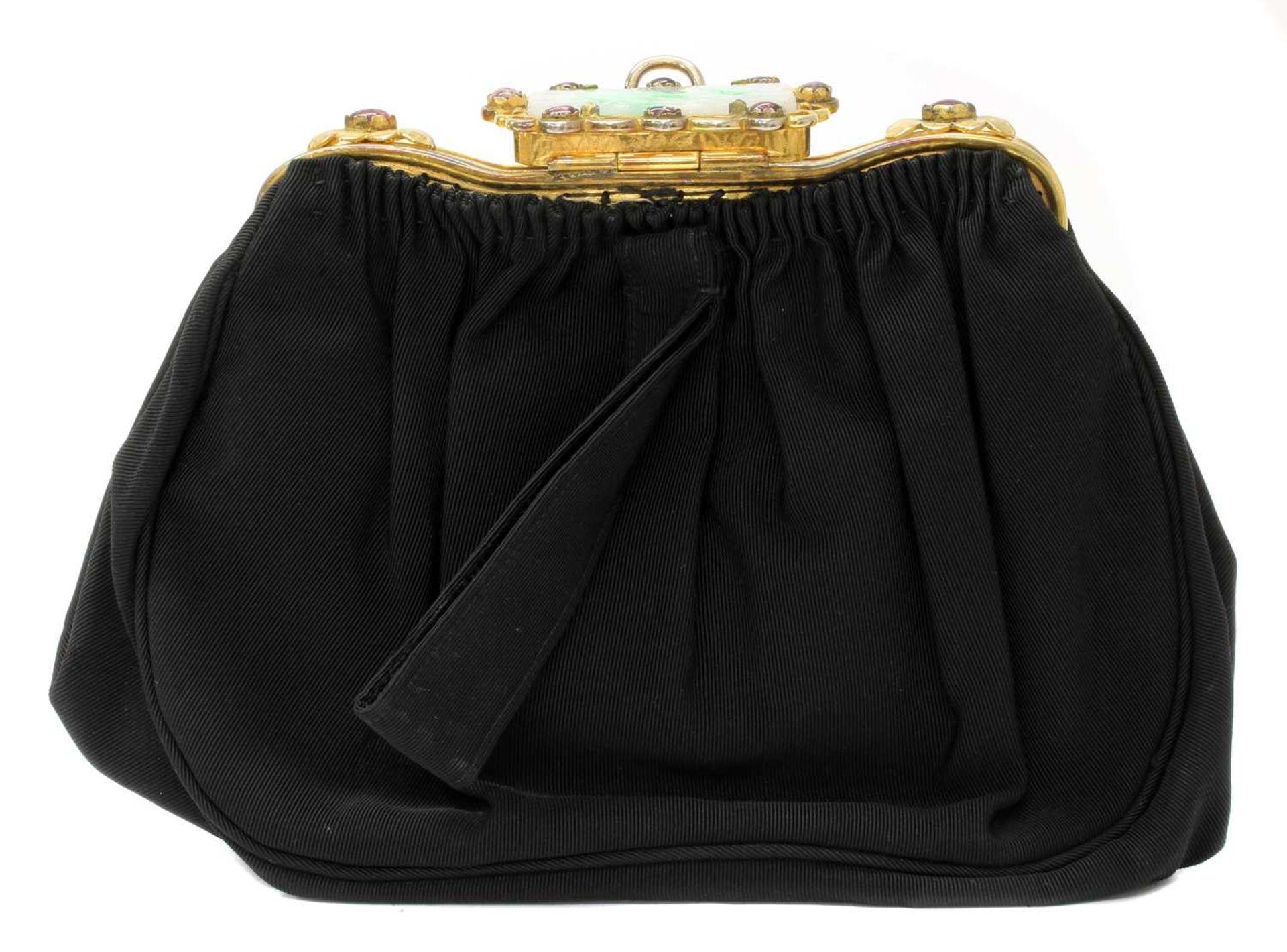 A black grossgrain gem set evening clutch bag, c.1930