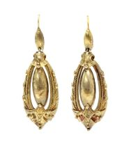 A pair of Victorian Etruscan style gold drop earrings,