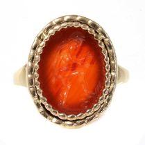 A Georgian gentlemen's cornelian intaglio engraved gold ring,