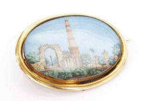 A Victorian brooch with an Indian painted miniature watercolour on ivory,