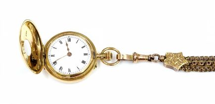 A ladies' 18ct gold side wind enamel half hunter fob watch and Albertine, c.1910,