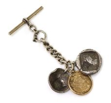 A sterling silver fob chain with a sovereign dated 1926,