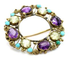 A Regency gold amethyst, chrysolite and turquoise cannetille brooch/pendant,