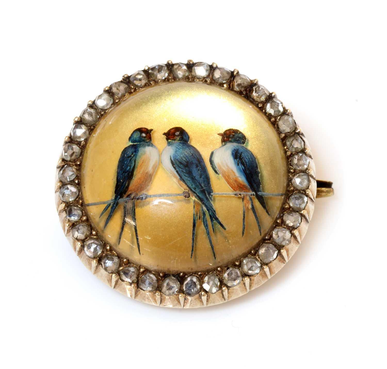 A former Austro-Hungarian diamond set reverse painted crystal intaglio brooch, c.1880,