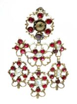 A late 18th century Iberian flat cut garnet and freshwater pearl pendant drop, later converted to a