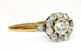 An Edwardian gold diamond cluster ring,