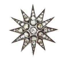 A Victorian diamond set star brooch, c.1890,