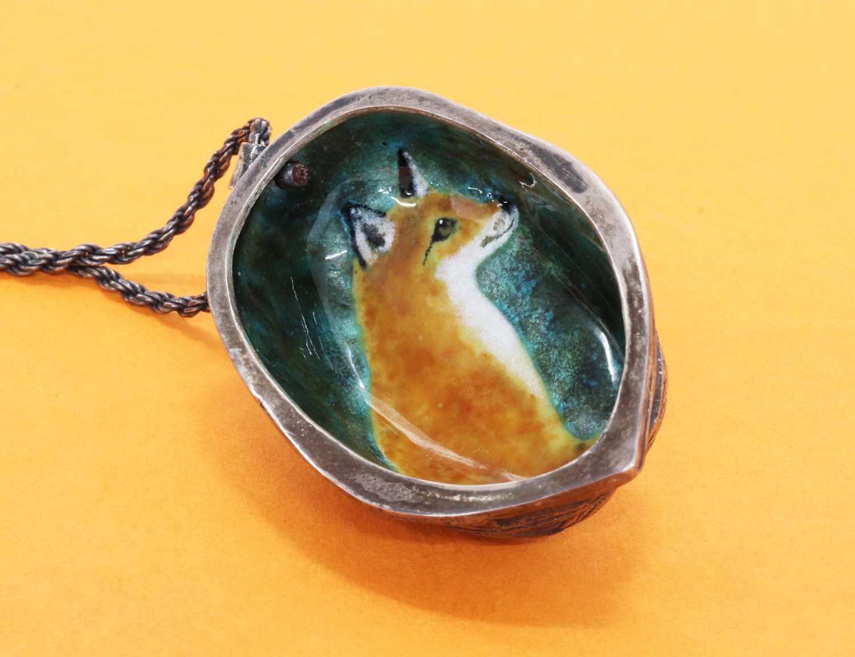An enamel fox pendant, by Victor Lee, - Image 2 of 3