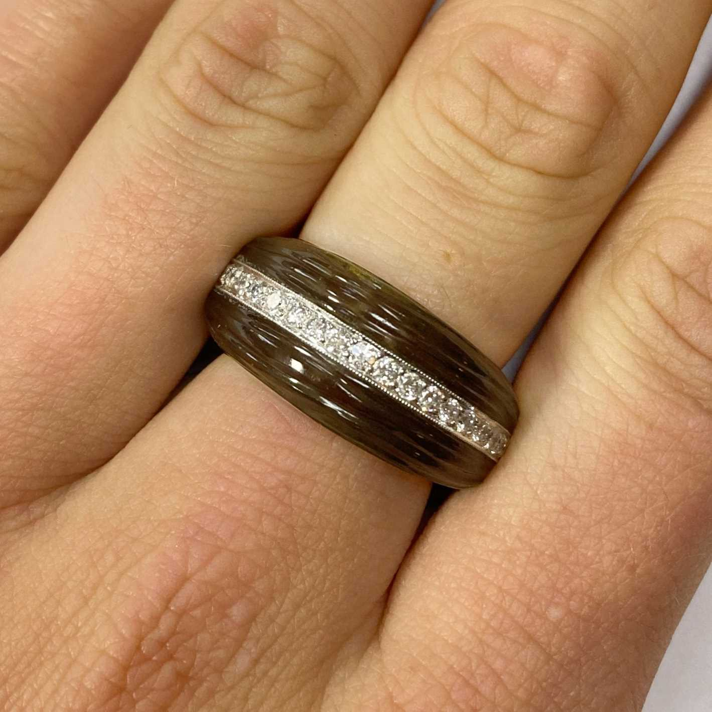 A white gold carved smoky quartz and diamond tapered band ring, - Image 4 of 4
