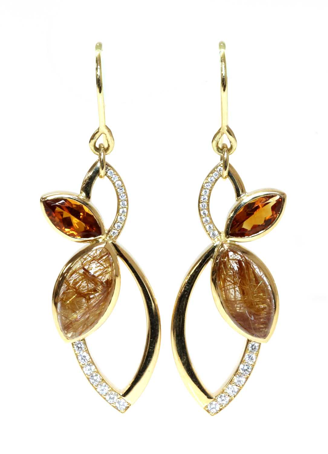 A pair of 18ct gold rutilated golden quartz, citrine and diamond earrings, by Hamilton & Inches,