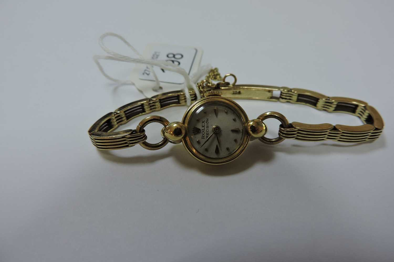 A ladies' 18ct gold Rolex 'Precision' mechanical bracelet watch, - Image 3 of 4