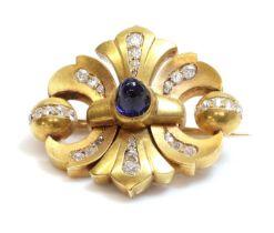 A former Austro-Hungarian sapphire and diamond double fleur-de-lys shaped brooch,