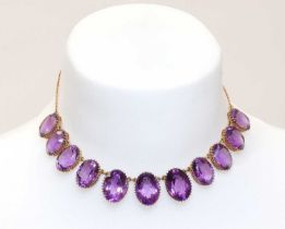 A late Victorian amethyst fringe necklace,